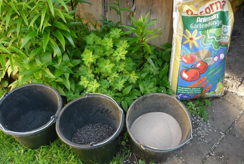 Clematis pflanzen - Bodenverbesserung mit Kompost, Lavagranulat und Sand