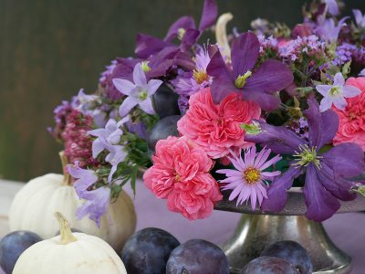 Clematis Etoile Violette in einem herbstlichen Strauß